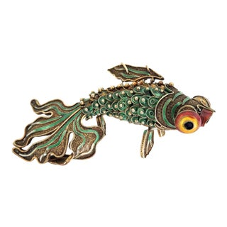 Antique Chinese Green Enamel Reticulated Fish For Sale