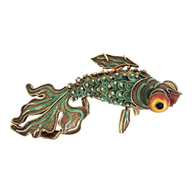 Antique Chinese Green Enamel Reticulated Silver Goldfish For Sale
