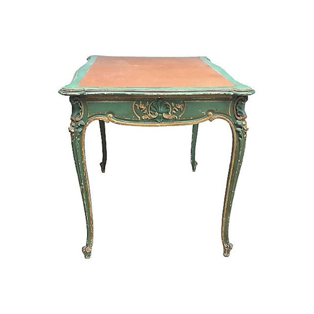 19th Century French Carved Wood & Leather Writing Desk For Sale - Image 4 of 9