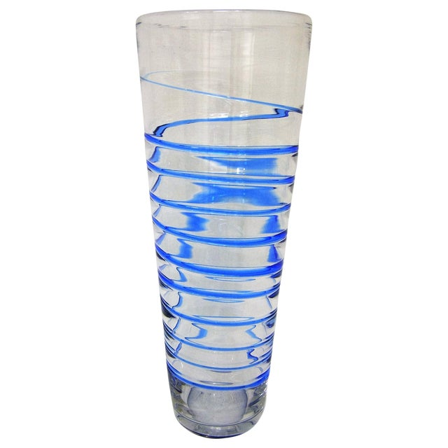 Monumental Transparent & Blue Glass Vintage Blenko Vase Large Mid-Century Modern MCM For Sale