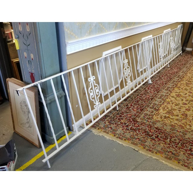 1950s Vintage White Wrought Iron 16 Foot Handrail Railing