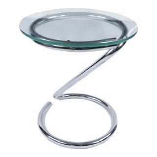 1960s Mid Century Modern Marcel Breuer Glass Chrome Swirl Tube Side Table For Sale