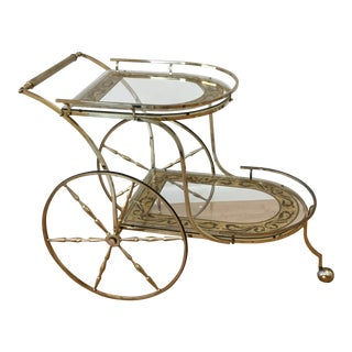 Hollywood Regency Brass Bar Cart For Sale