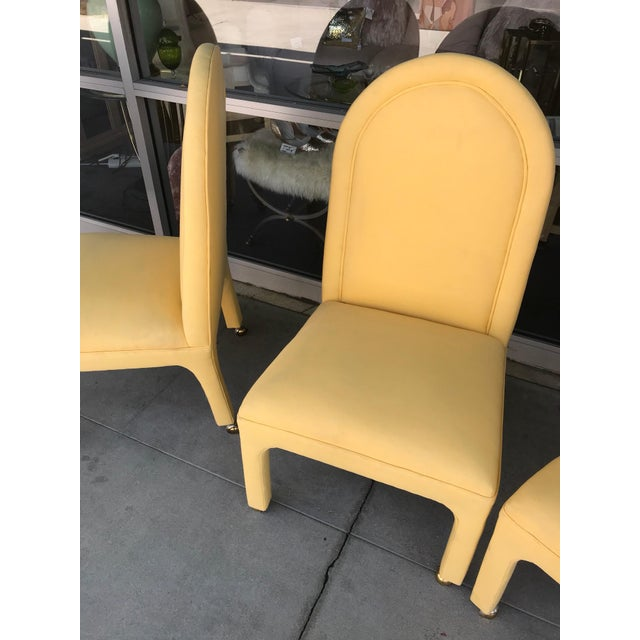 Hollywood Regency Indoor or Outdoor Dining Chairs in Yellow Sunbrella Fabric - Set of 4 For Sale - Image 3 of 5