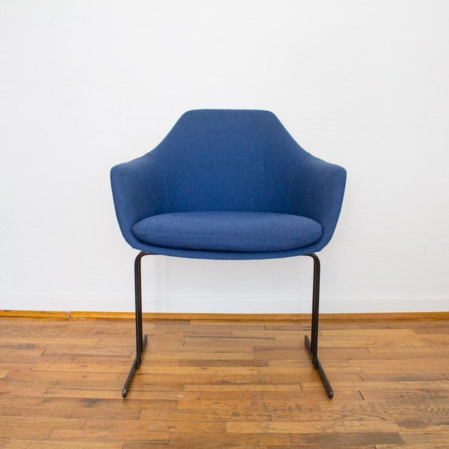 Mid century chair by the Vecta group features a unique combination of Vecta's atomic, streamlined Italian frame and a...