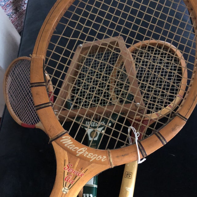 Collection of Antique Tennis Rackets - Set of 4 For Sale - Image 5 of 9
