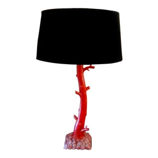 Vintage Red Faux Coral Table Lamp With Black Velvet Shade For Sale