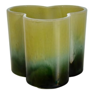 Mid 20th Century Green Ombre Lobe Planter For Sale