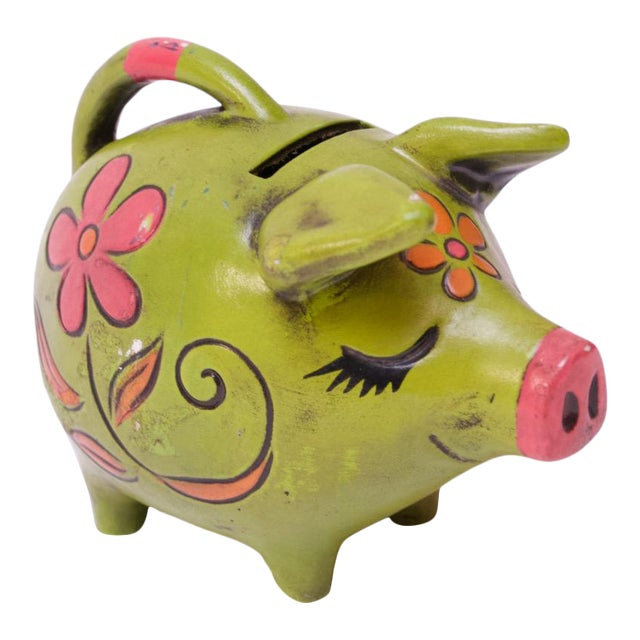 Vintage Japanese Paper Mache Piggy Bank For Sale