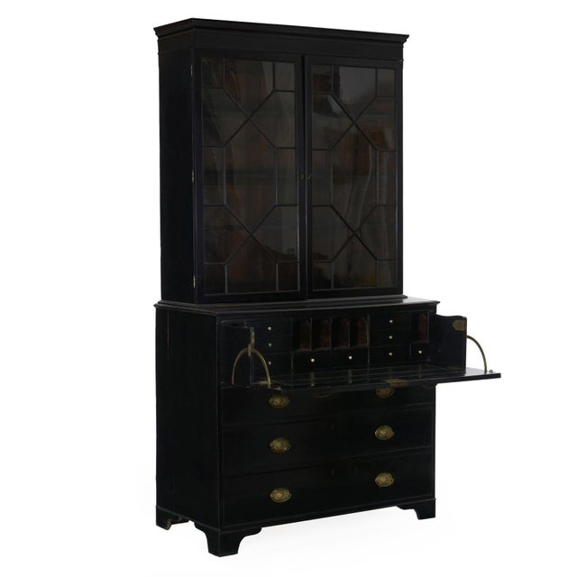 English Georgian Antique Black Butler's Secretary Desk With Bookcase, 19th Century For Sale - Image 4 of 13