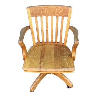 Vintage Oak Spring Tension Tilt Rolling Banker Chair