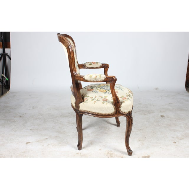Louis XVI Needlepoint Walnut Fauteuil Chair For Sale - Image 3 of 5