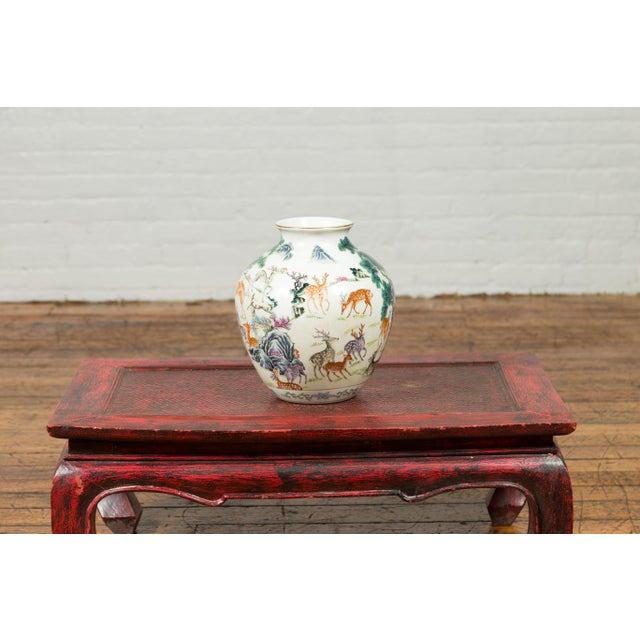 White 1920s Chinese Porcelain Vase with Gilt Accents, Deer and Mountain Motifs For Sale - Image 8 of 13