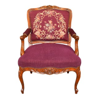 19th Century Antique French Louis XVI Carved Fruitwood Burgundy Chair For Sale