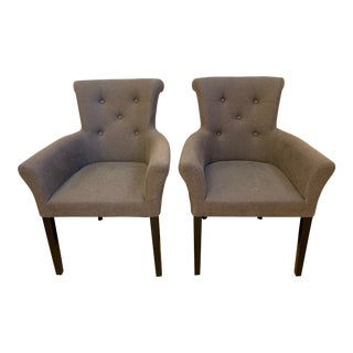 H.D. Buttercup Linen Upholstered Arm Chair - a Pair For Sale
