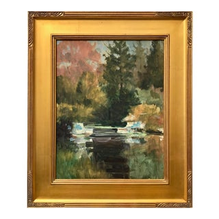 American Impressionist Oil Painting Wooded Landscape and Stream by Harry Barton For Sale