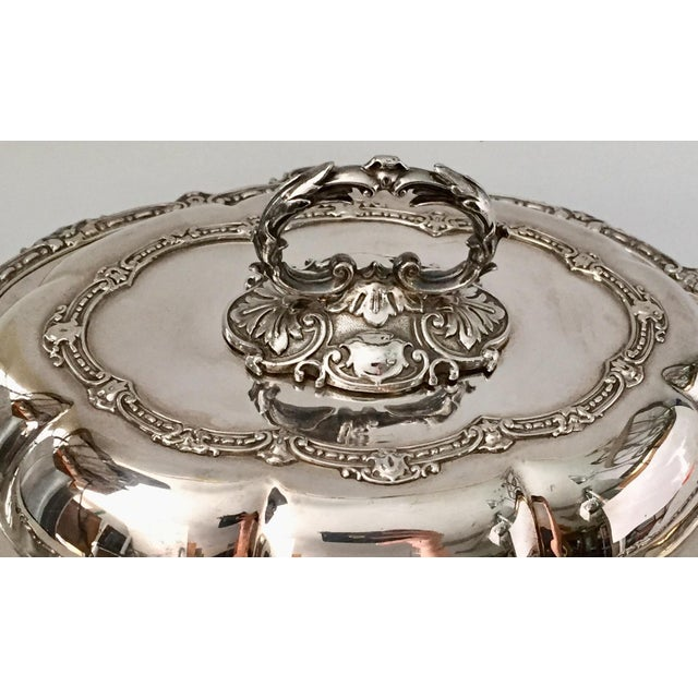 Edwardian Antique Sheffield Silver Plate Scroll Borders & Armorial Crest Serving Dish With Cover For Sale - Image 3 of 12