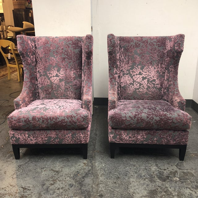 Bernhardt Pascal Contemporary Wingback Chairs - a Pair - Image 4 of 11