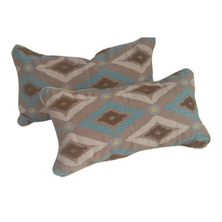 Contemporary Rectangle Pillows With Tribal Design - a Pair For Sale