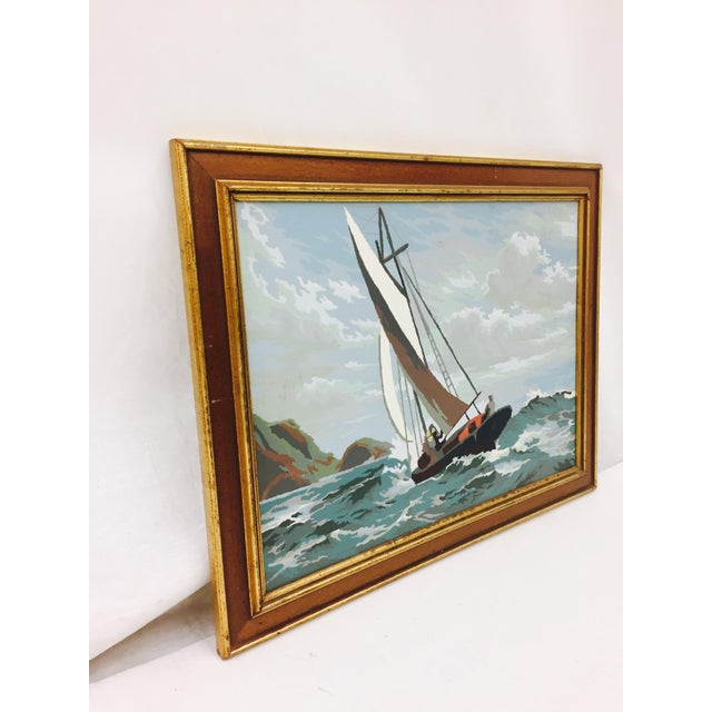 Fantastic Vintage Mid Century Arts & Crafts Paint By Numbers Seascape in Gilt Trimmed Wooden Frame. Great color and...