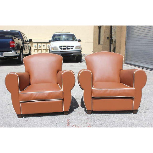 Beautiful pair French Art Deco classic club chairs Circa 1940s. the club chair are very comfortable These are upholstered...