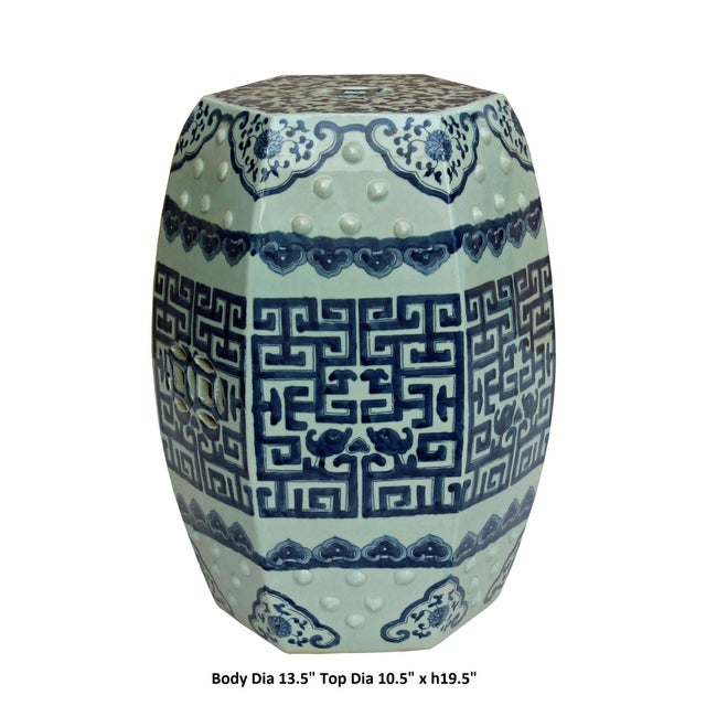 Chinese Blue & White Porcelain Scenery Hexagon Pattern Stool Table For Sale In San Francisco - Image 6 of 7