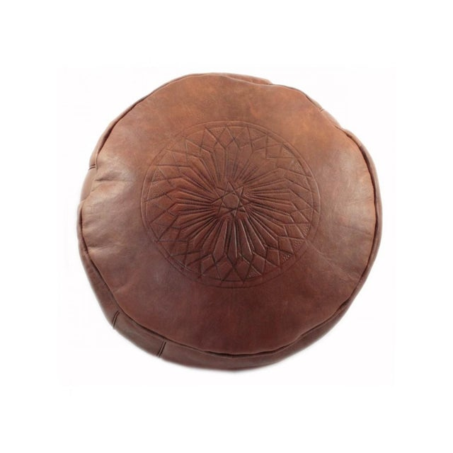 Brown Moroccan Leather Pouf - Image 3 of 6