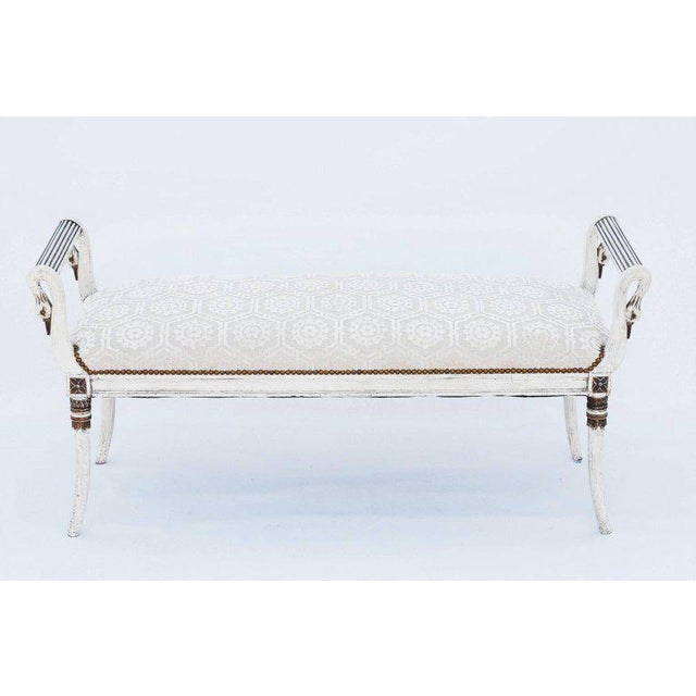 Traditional Long Painted Swan Neck Bench For Sale - Image 3 of 8