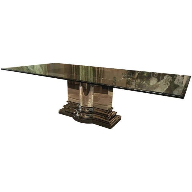 Dining Table With Stainless Steel Column Base by Brueton For Sale - Image 10 of 10