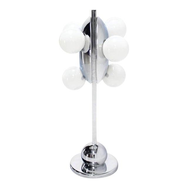 Unusual Six Globe Chrome Disc Mid Century Modern Table Lamp Symmetrical For Sale