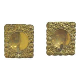 French Hammered Brass Sconces - a Pair For Sale
