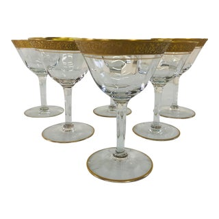 1930s Art Deco Style Tiffin Gold Rim Coupes - Set of 6 For Sale
