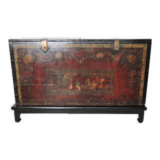 19th. Century Antique Polychrome Lift Top Red and Black Chinese Storage Chest Trunk on Stand For Sale