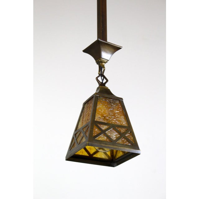 Bronze Arts & Crafts Style Pendant Fixture. For Sale - Image 7 of 7