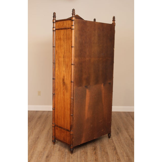 1970s Century Faux Bamboo Bedroom Armoire Cabinet For Sale - Image 5 of 13