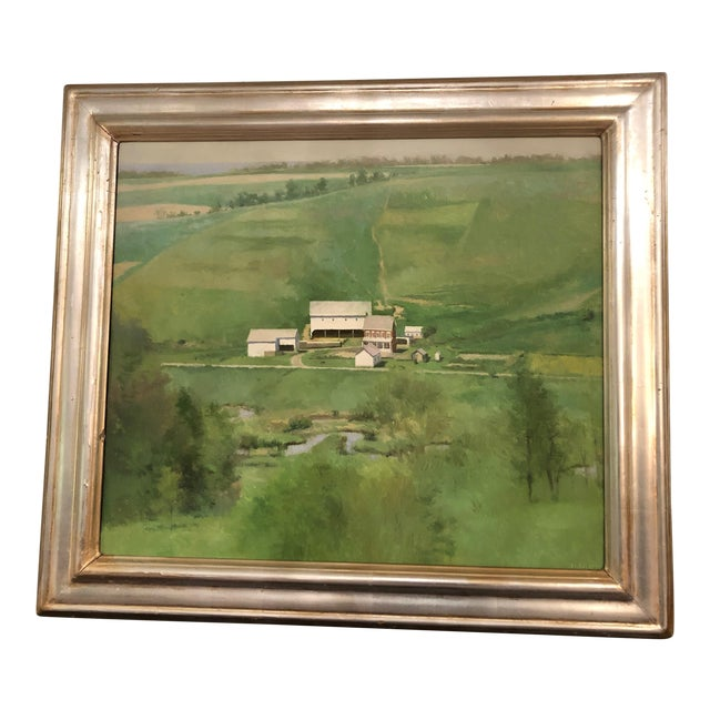 Farm Green Landscape Painting by Peter Schor For Sale