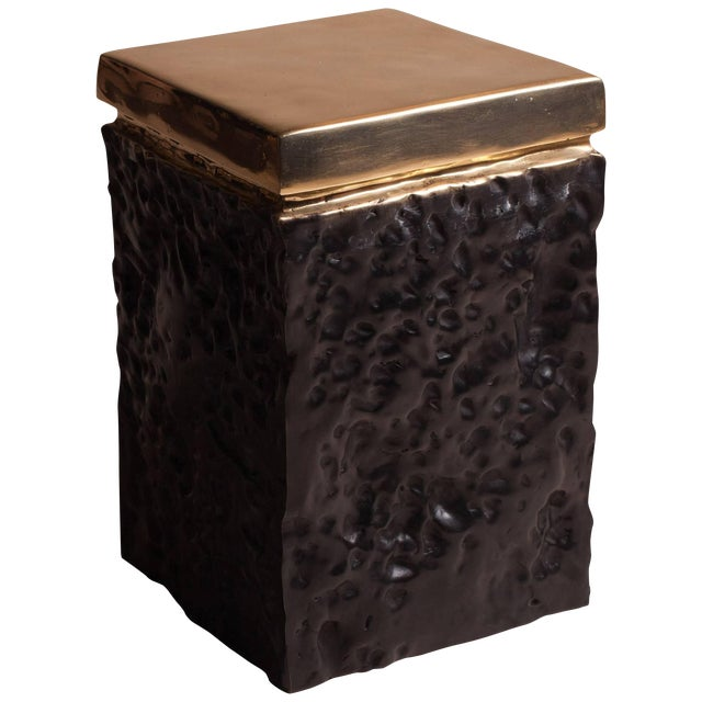 Black and Bronze Hand Casted Stool For Sale