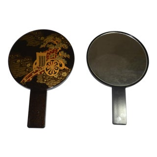 Asian Chinese Black Lacquer Double Hand Vanity Mirror For Sale