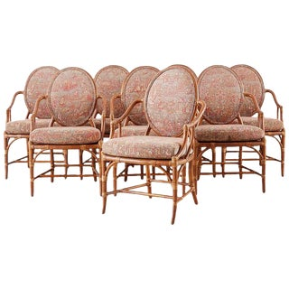 Set of Eight McGuire Rattan Chinoiserie Dining Armchairs For Sale