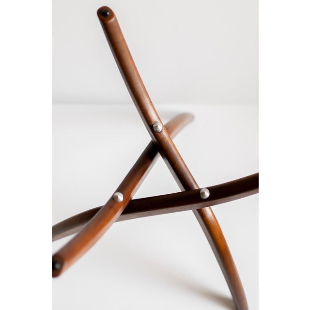 Aluminum 1960s Mid-Century Modern Forest Wilson Sculptural Wood & Glass End Table For Sale - Image 7 of 11