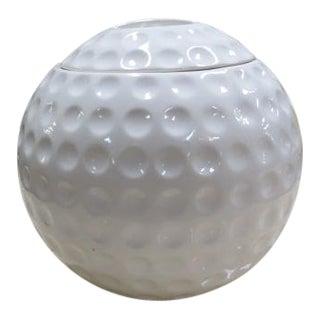 Vintage Figurative Ceramic Golf Ball Covered Jar For Sale