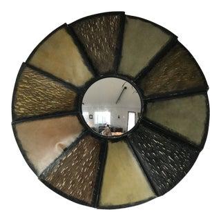 Brutalist Mixed Metal Sunburst Mirror For Sale