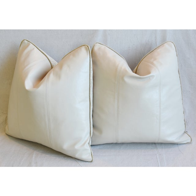 """Tan Creamy Italian Tanned Leather Feather/Down Pillows 21"""" Square - Pair For Sale - Image 8 of 13"""