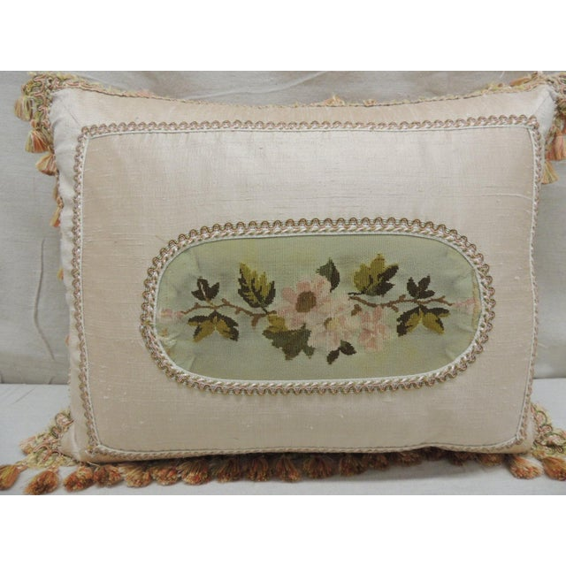 Traditional Antique Aubusson Center Tapestry Decorative Pillow For Sale - Image 3 of 9