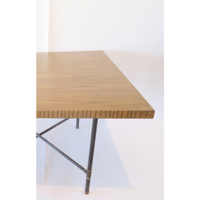 Pipe Table With Chisled Edge Wood Top - Image 4 of 6