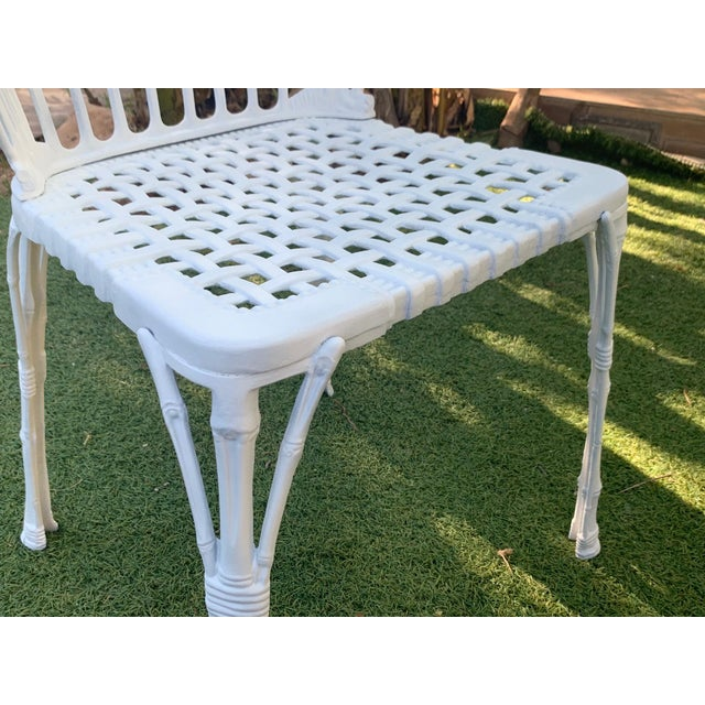 20th Renaissance Revival Style Cast Iron White Garden Chairs in Faux Bamboo - a Pair For Sale - Image 9 of 11