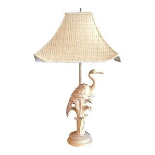 Asian Modern Style Tall Standing Crane Lamp W/ Silk Shade For Sale