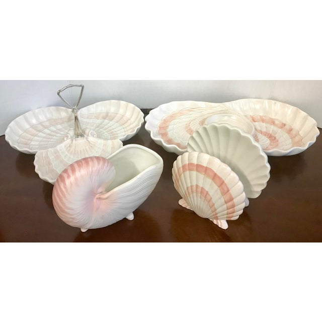 Fitz & Floyd Pink Shell Serving Dishes - Set of 4 For Sale - Image 10 of 10