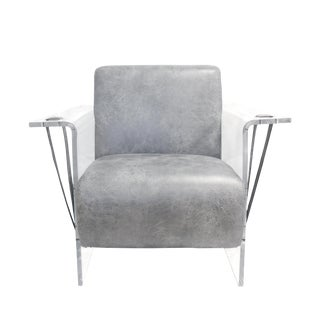 Pasargad Home Eleganza Modern Lucite Armchair Grey For Sale