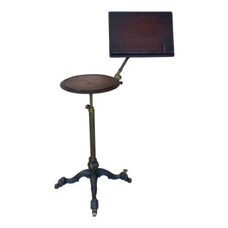 19th Century Mechanical Music Stand With Candle Table For Sale